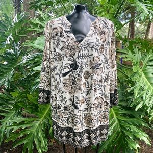 Lucky Brand NWT Boho Bird Floral Print Top /Tunic